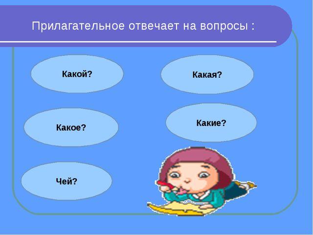 Прилагательное отвечает на вопросы : Какой? Какое? Какая? Какие? Чей?