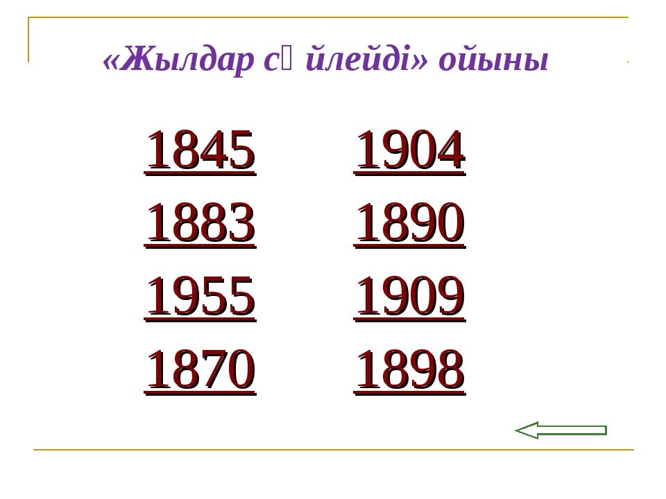 шығу «Жылдар сөйлейді» ойыны 18451904 18831890 19551909 18701898