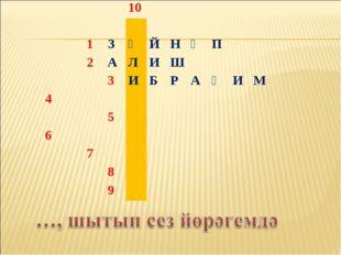 10  1ЗӘЙНӘП 2АЛИШ 3ИБРАҺИМ 4 5