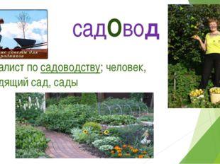 садОвод специалист посадоводству; человек, разводящий сад, сады