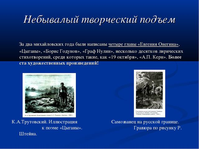Небывалый творческий подъем За два михайловских года были написаны четыре гла...