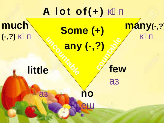 Some (+) any (-,?) many(-,?) көп few аз no еш little аз much (-,?) көп A lot...