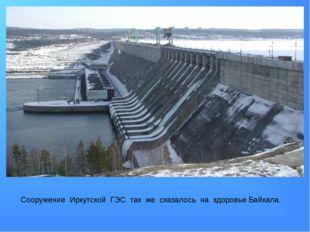 Сооружение Иркутской ГЭС так же сказалось на здоровье Байкала.