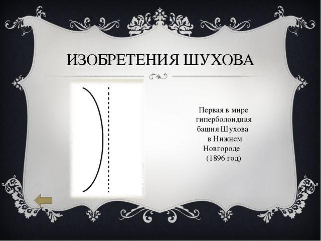 ИЗОБРЕТЕНИЯ ШУХОВА Первая в мире гиперболоидная башня Шухова в Нижнем Новгоро...