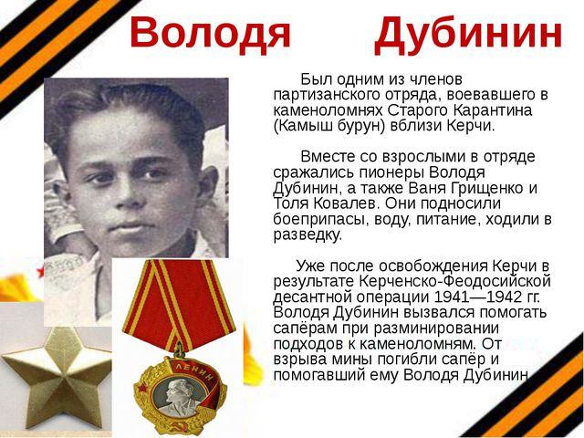 Володя Дубинин Был одним из членов партизанского отряда, воевавшего в каменол...