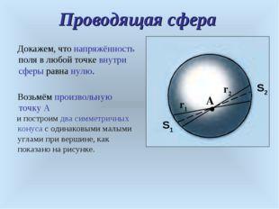 Проводящая сфера A r1 r2 S1 S2 Докажем, что напряжённость поля в любой точке