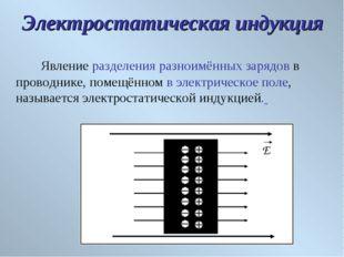 Явление разделения разноимённых зарядов в проводнике, помещённом в электриче