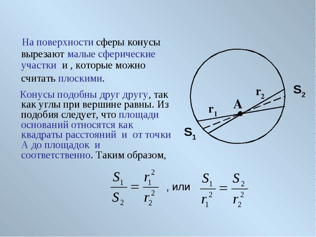 На поверхности сферы конусы вырезают малые сферические участки и , которые м...
