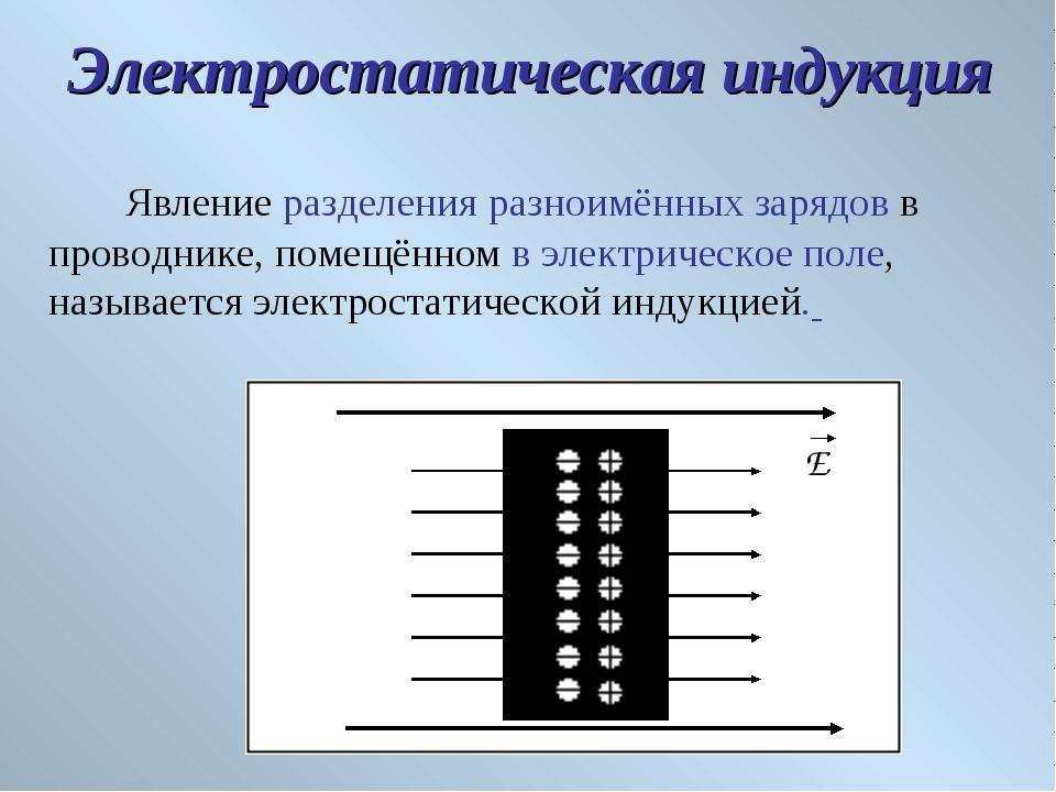 Явление разделения разноимённых зарядов в проводнике, помещённом в электриче...