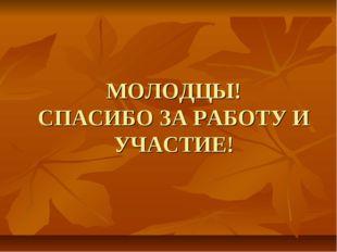 МОЛОДЦЫ! СПАСИБО ЗА РАБОТУ И УЧАСТИЕ!