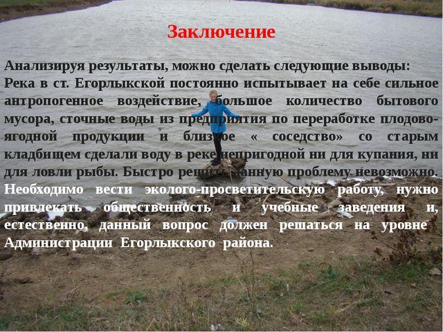 Заключение  Анализируя результаты, можно сделать следующие выводы: Река в ст...