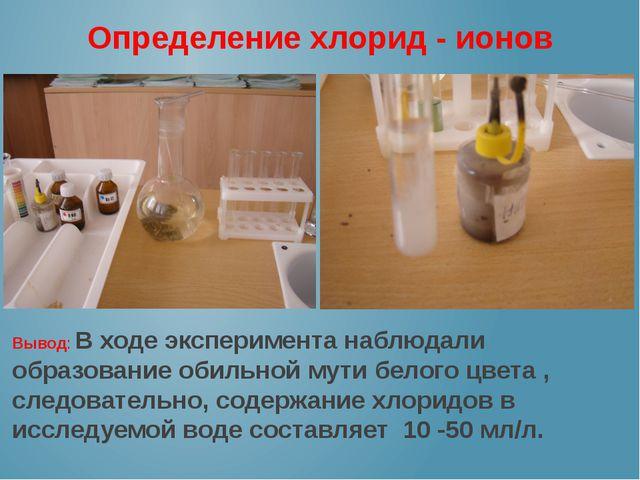 Определение хлорид - ионов Вывод: В ходе эксперимента наблюдали образование о...