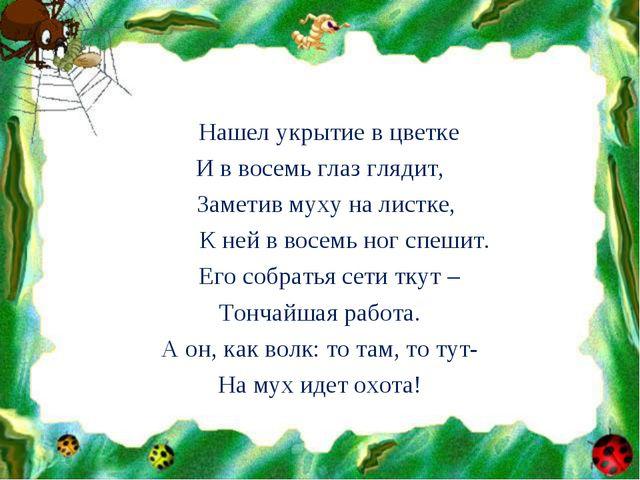 Нашел укрытие в цветке И в восемь глаз глядит, Заметив муху на листке, К ней...