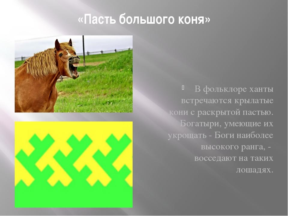 «Пасть большого коня» В фольклоре ханты встречаются крылатые кони с раскрытой...