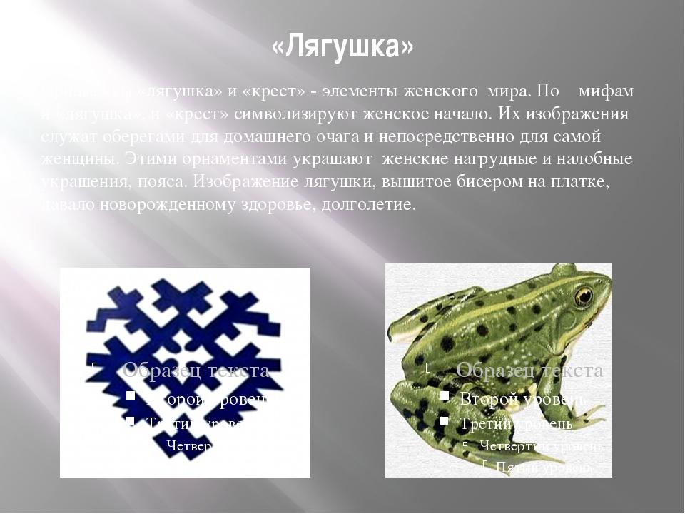 «Лягушка» Орнаменты «лягушка» и «крест» - элементы женского мира. По мифам и...