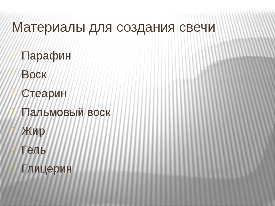 Материалы для создания свечи Парафин Воск Стеарин Пальмовый воск Жир Гель Гли...