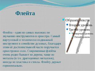 Флейта Флейта - один из самых высоких по звучанию инструментов в оркестре. Са