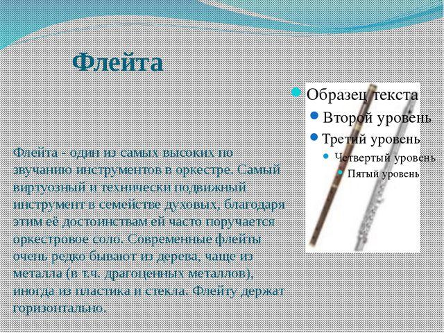 Флейта Флейта - один из самых высоких по звучанию инструментов в оркестре. Са...