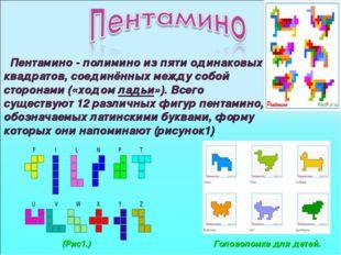 Пентамино - полимино из пяти одинаковых квадратов, соединённых между собой с