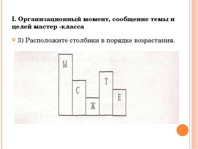 I. Организационный момент, сообщение темы и целей мастер -класса 3) Расположи...