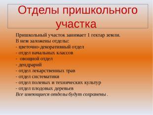 Отделы пришкольного участка Пришкольный участок занимает 1 гектар земли. В не