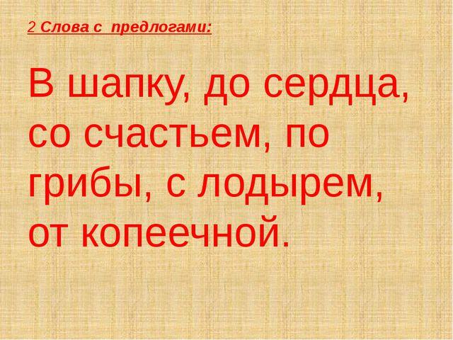 2 Слова с предлогами: В шапку, до сердца, со счастьем, по грибы, с лодырем, о...