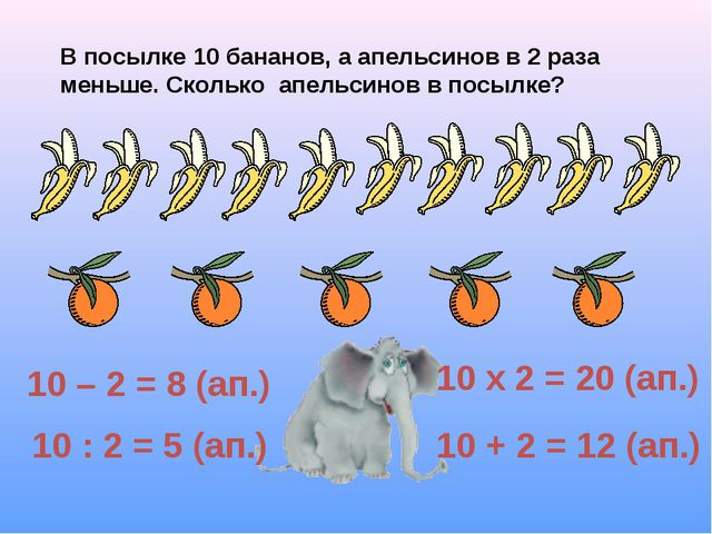 В посылке 10 бананов, а апельсинов в 2 раза меньше. Сколько апельсинов в посы...