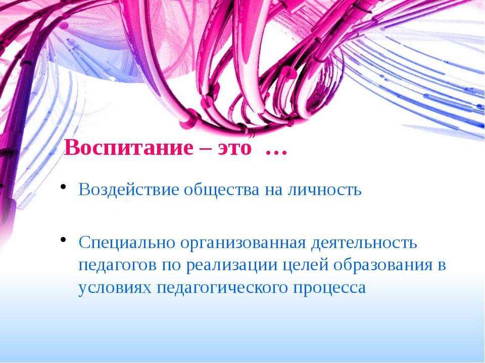 Воспитание – это … Воздействие общества на личность Специально организованная...