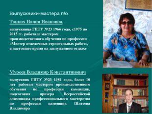 Выпускники-мастера п/о Тонких Налия Ивановна, выпускница ГПТУ №23 1966 года,