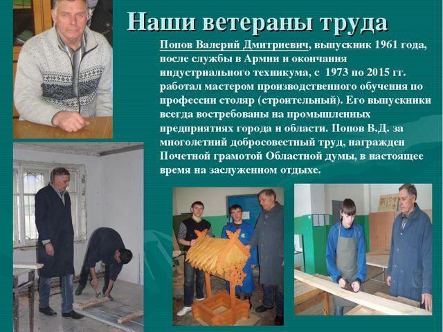 Наши ветераны труда Попов Валерий Дмитриевич, выпускник 1961 года, после слу...