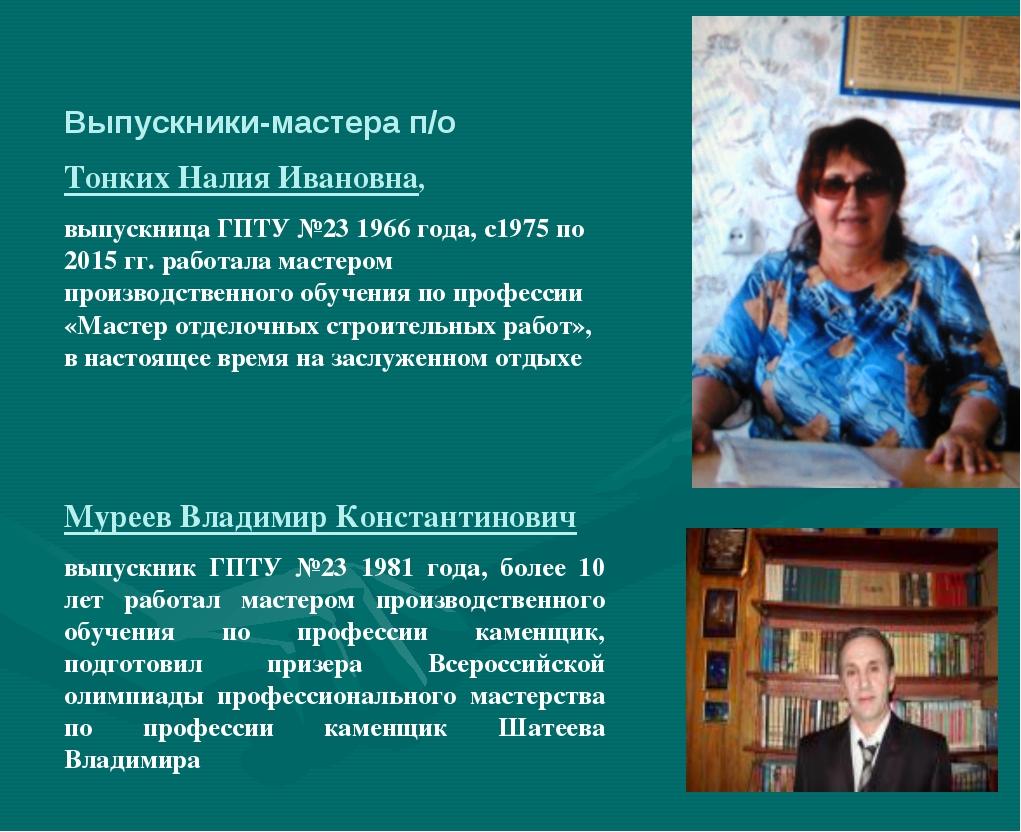Выпускники-мастера п/о Тонких Налия Ивановна, выпускница ГПТУ №23 1966 года,...