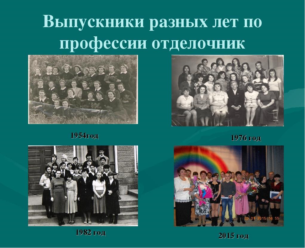 Выпускники разных лет по профессии отделочник 1954год 1976 год 1982 год 2015...