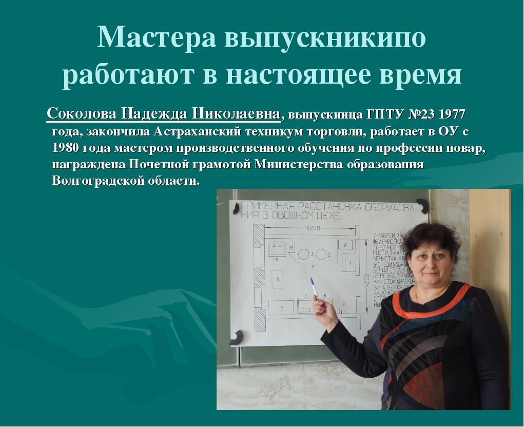 Мастера выпускникипо работают в настоящее время Соколова Надежда Николаевна,...