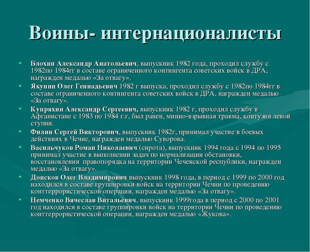 Воины- интернационалисты Блохин Александр Анатольевич, выпускник 1982 года, п...