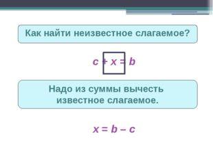 Как найти неизвестное слагаемое? c + х = b Надо из суммы вычесть известное сл