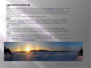 Характеристика сезонов года Зима Зимав Омске характеризуется устойчивой моро
