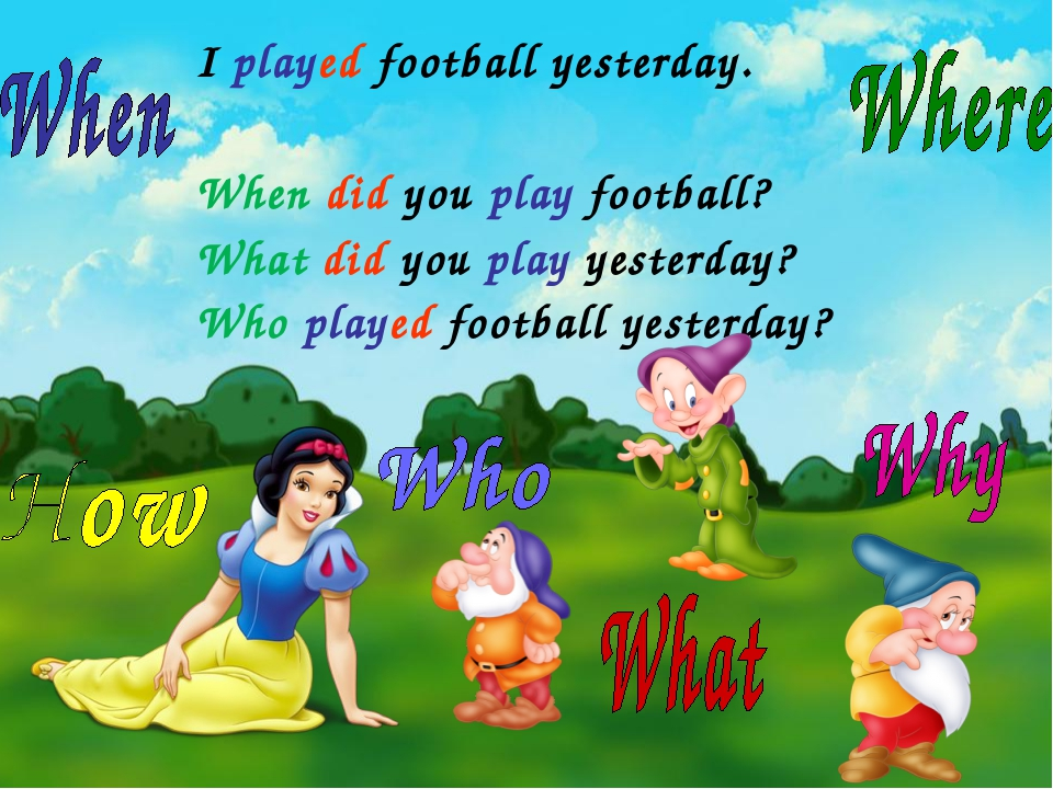 I played football yesterday. When did you play football? What did you play ye...