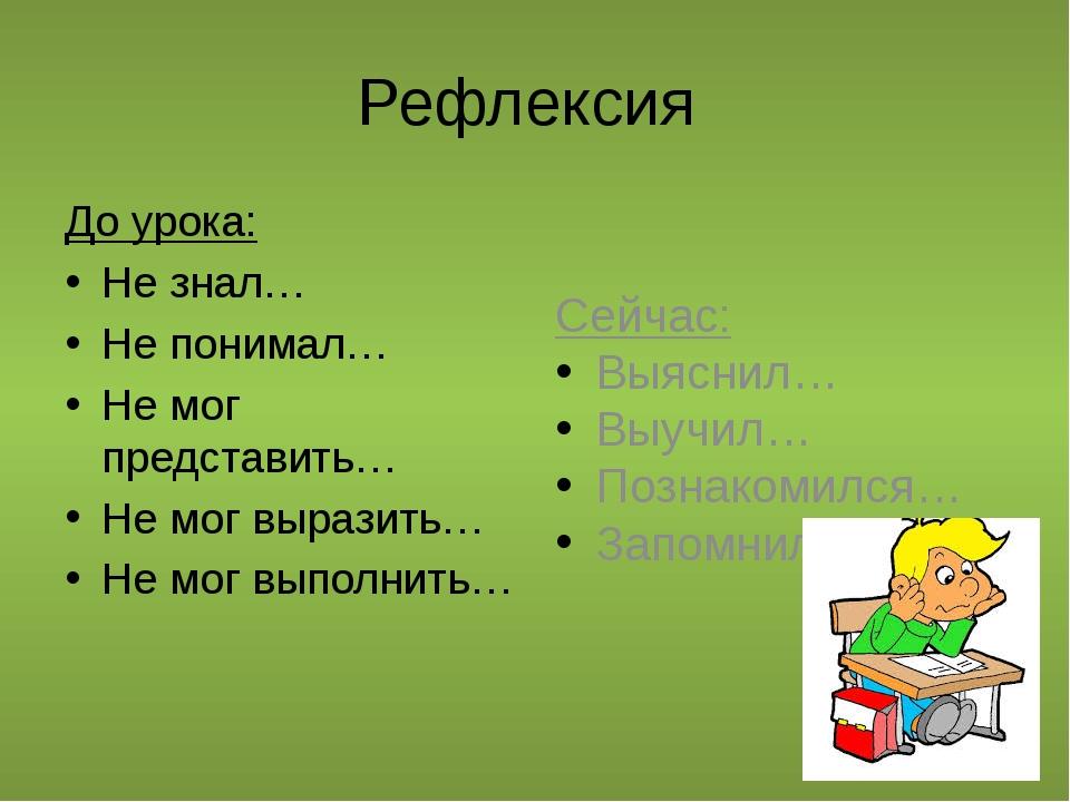 Рефлексия До урока: Не знал… Не понимал… Не мог представить… Не мог выразить…...