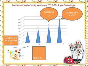 Медицинский осмотр класса в 2013-2014 учебном году: Заболевания ЖКТ Сколиоз М