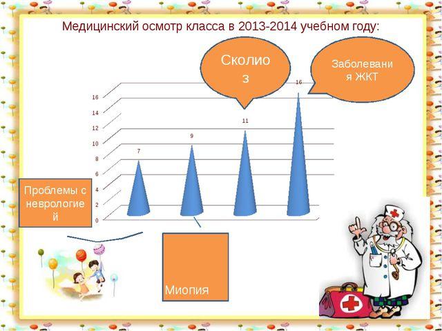 Медицинский осмотр класса в 2013-2014 учебном году: Заболевания ЖКТ Сколиоз М...