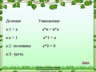 Деление     Умножение а:1 = а       а*в = в*а а:а = 1       а