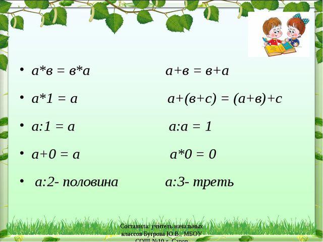 а*в = в*а    а+в = в+а а*1 = а      а+(в+с) = (а+в)+с а:1 = а    ...
