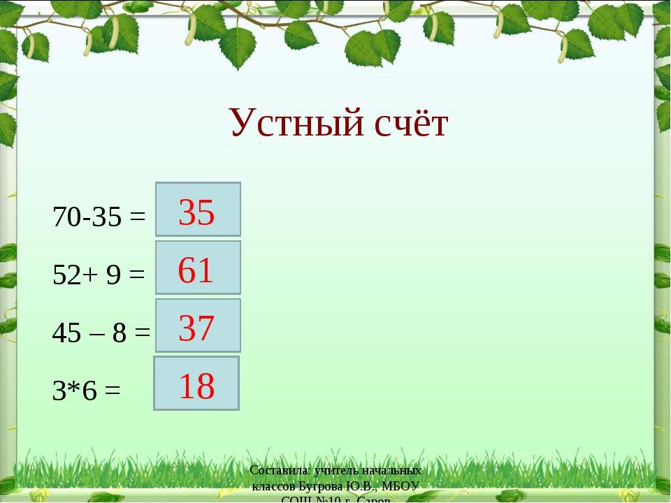 Устный счёт 70-35 = 52+ 9 = 45 – 8 = 3*6 = 35 61 37 18 Составила: учитель нач...