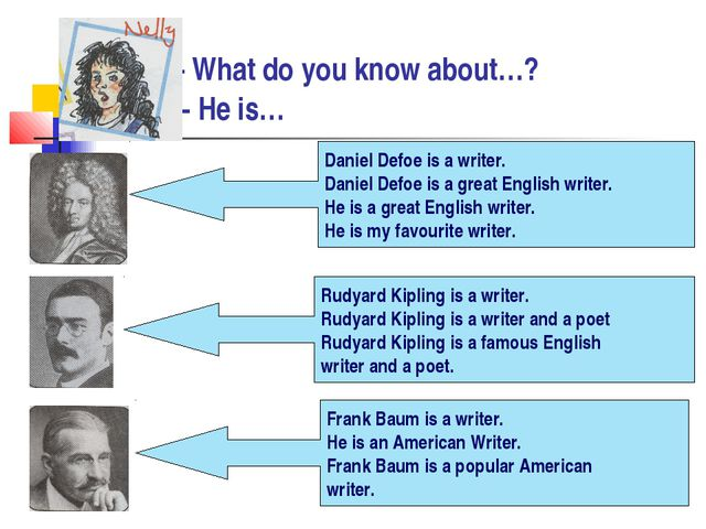 - What do you know about…? - He is… Daniel Defoe is a writer. Daniel Defoe i...