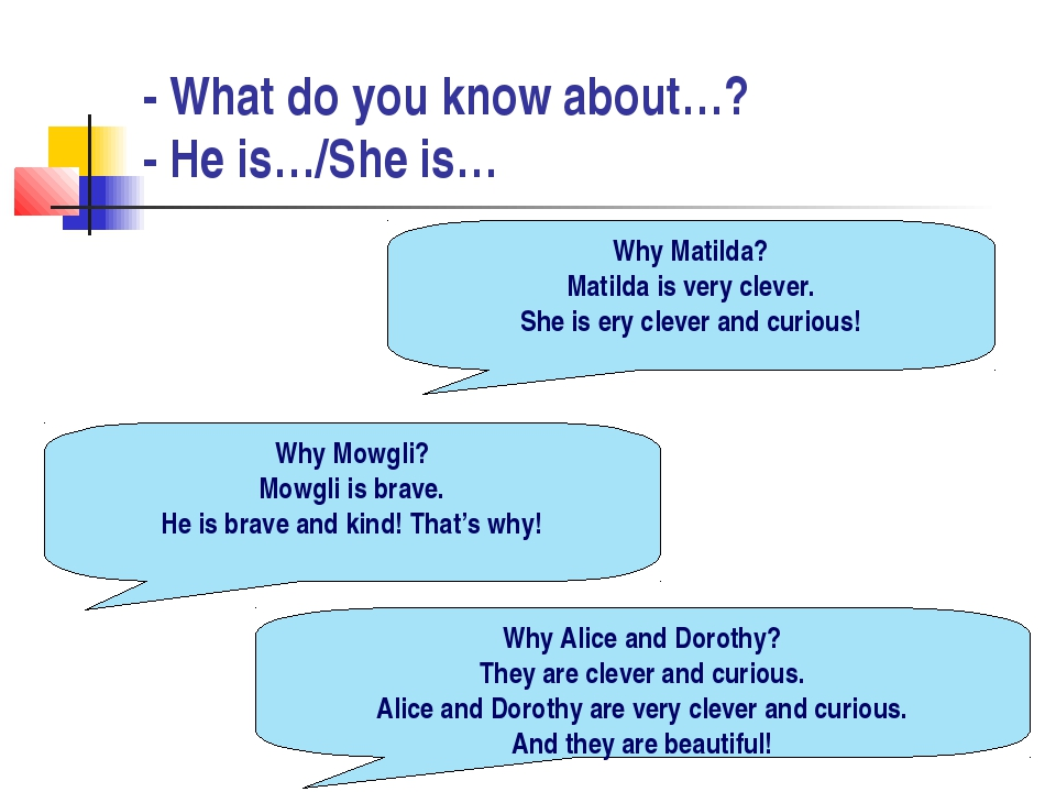 - What do you know about…? - He is…/She is… Why Matilda? Matilda is very clev...