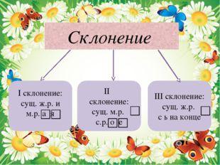 Склонение I склонение: сущ. ж.р. и м.р. а я II склонение: сущ. м.р. с.р. о е