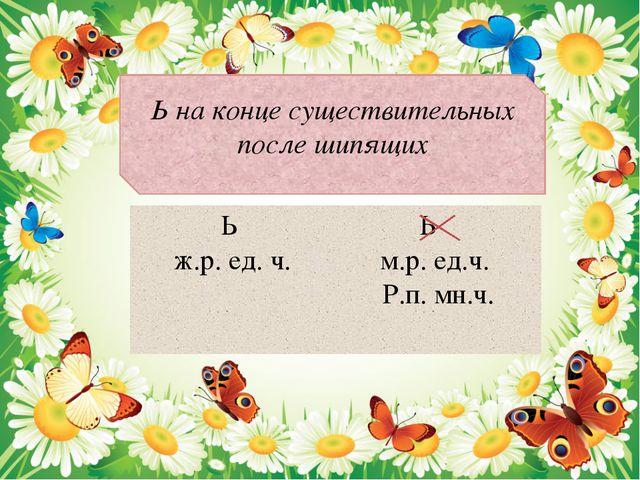 Ь на конце существительных после шипящих Ь ж.р. ед. ч. Ь м.р. ед.ч. Р.п. мн.ч.