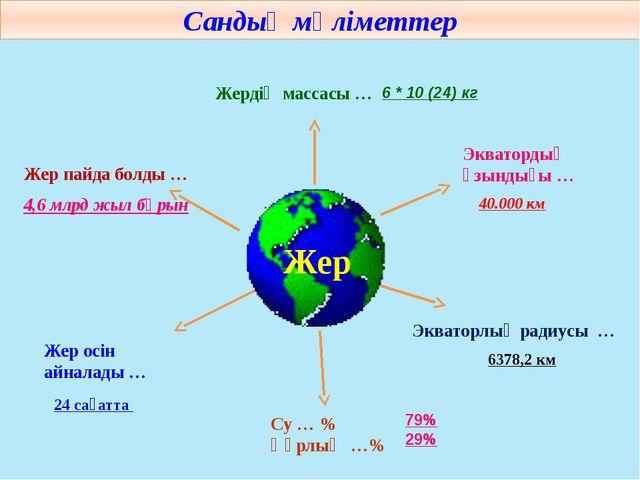 Жер Сандық мәліметтер Жер пайда болды … Жердің массасы … Экватордың ұзындығы...