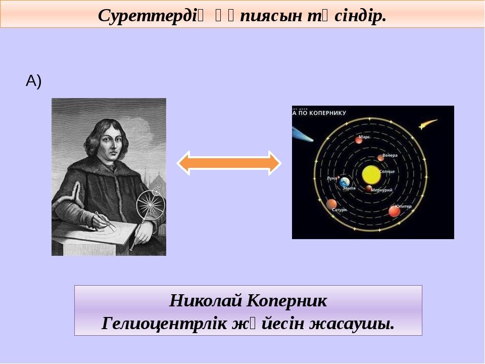 Суреттердің құпиясын түсіндір. А) Николай Коперник Гелиоцентрлік жүйесін жас...