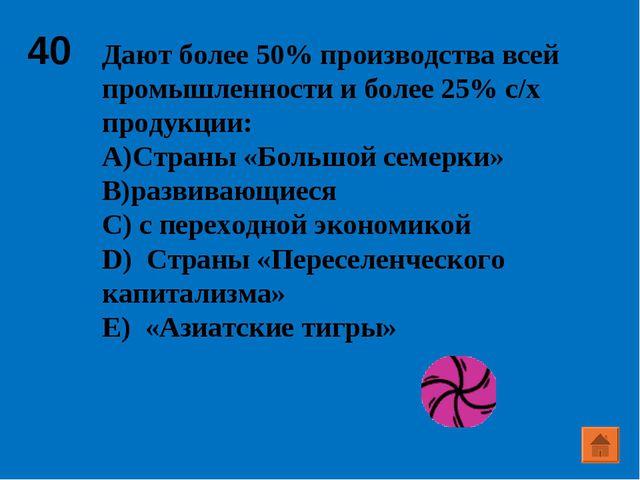 40 Дают более 50% производства всей промышленности и более 25% с/х продукции:...